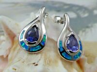 REAL STERLING SILVER POST BLUE OPAL EARRINGS WITH PEAR SHAPE TANZANITE