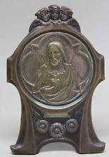 Antique Religious Brass Frame SACRET HEART OF JESUS/ ANGELS/ FLOWERS