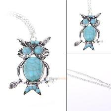 Women Vintage Turquoise Rhinestone OWL Pendant Long Chain Necklace Jewellery New