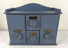 Vtg Wood Spice Chest Blue Paint Metal Tags Flour Sugar Coffee Tea Hang or Sit