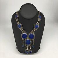 9 Cabs Afghan Turkmen Round Lapis Lazuli ATS Statement Bib Boho Necklace, TN144