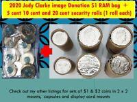 2020 JC Donation $1 RAM bag 5c 10c 20c security rolls H/T 1 each -5c in $1 paper