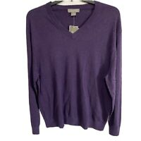$85 Daniel Cremieux Mens L/S V-Neck Pullover Sweater XL Purple Supima Cotton