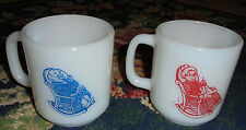 Vintage Glasbake Grandpa and Grandma retro red and blue design coffee mug set