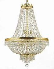 9 LIGHT GOLD EMPIRE CRYSTAL CHANDELIER LIVING DINING ROOM FOYER KITCHEN HALLWAY