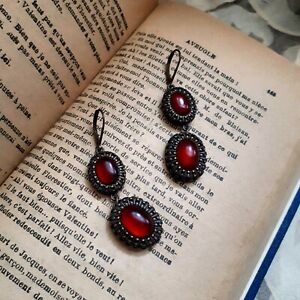 Vintage Nina Ricci, Avon dangle drop earrings with glowing ruby red faux stones.