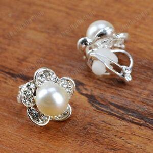 CLIP ON crystal PEARL flower EARRINGS silver pltd non-pierced rhinestone clips