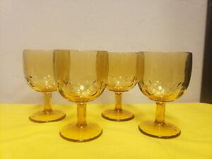 Indiana Glass Thumbprint Pedestal Amber Goblets Glasses Set Of 4 Vintage Retro