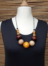 LAGENLOOK AMAZING QUIRKY BOHO ARTIST WOODEN BALLS+CORD NECKLACE*MULTICOLOURED*
