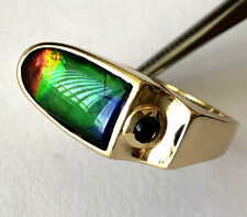 14K Yellow Gold Free Form Natural Ammolite And Tourmaline Ring Band Sz 9 Rare!