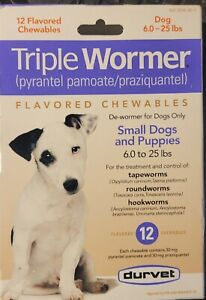 Durvet triple wormer 12 flavored chewables New Exp 4/2023 LQQK