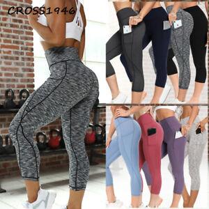 CROSS1946 Womens Capri 3/4 Pants Yoga With Pockets High Waist Sports Gym Workout