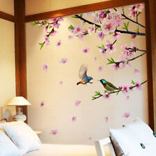 Peach Blossom Tree Branch Wall Stickers Vinyl DIY Flowers Birds Wall Decor