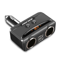 Dual USB LCD Car Charger Cigarette Lighter Double Power Adapter Socket Splitter