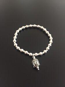 Silver Buddha Bracelet. Sterling Silver Beaded Bracelet Buddha Bracelet. Silver