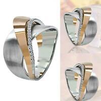 Mode kreative damen zweifarbige legierung ringe frauen schmuck hochzei gesc Q5W6