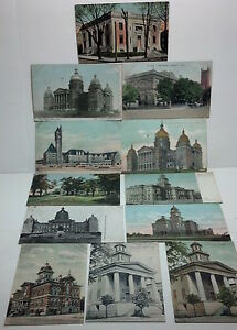 A collection of 12 Postcards (all over 100 yrs. old) of various buildings USA