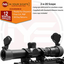 LONG EYE RELIEF Scope/2x20 pistolet à air comprimé portée/Crossbow vue/9.5-11&20mm Mounts