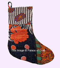 Christmas Xmas Tree Stocking Canvas Fabric Gift Candy Pouch Bag Vintage Cotton