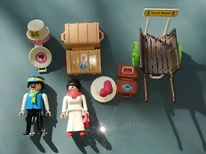 PLAYMOBIL Victorian Lady with Baggage Porter 5503 COMPLETE (Luggage Cart Hat)