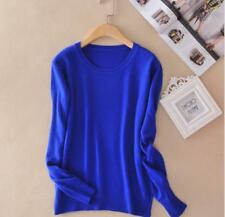 Women Cashmere Blended Sweater Winter Pullover Solid Knitted Sweater Top o-neck