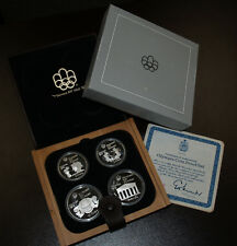 1976 Canada Olympic Motifs Olympic Four Coin Silver Proof Set w/Maple Case