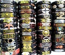 Job lots 20pcs Mixed Mens Boys Leather Bracelets Alloy Wristbands Retro Bangles