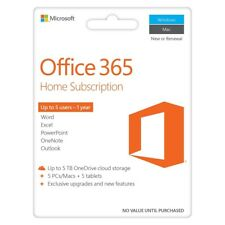Microsoft Office 365 Home Licence Card 5 Users 1 Year Subscription PC Mac