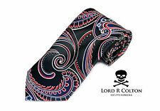 Lord R Colton Masterworks Tie Black Red Blue Supremacy Silk Necktie - $195 New
