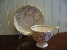 Tuscan Fine English Bone China Hand Painted Floral Motif Pink Cup & Saucer