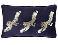 Laurence Llewelyn Bowen Velvet Qing Navy Blue Filled Boudoir Cushion 28x48cm New