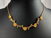Lovely Vintage Gold Tone Flowers Design and Rhinestones by AVON.