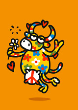 3D Lenticular Postcard Animated-Flower Covered Cow Proclaiming Hippy Love-