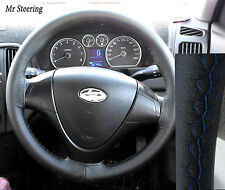 FOR HYUNDAI i30 2007-2011 REAL BLACK LEATHER STEERING WHEEL COVER BLUE STITCHING