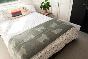 High Quality Wool Blanket Bed Runner - Sheep - Soft Grey - by J.J. Textiles