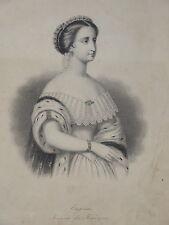 RARE Gravure Portrait EUGENIE IMPERATRICE NAPOLEON III MODE SECOND EMPIRE 1860