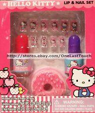 SANRIO 13pc Set/Lot HELLO KITTY Press-On Nails+Polish+Lipgloss Compact NEW!