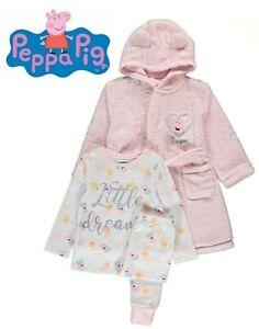 Baby Girls Peppa Pig Pyjamas & Fleece Dressing Gown 3 Piece Set 1-5 Years NEW