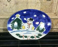 Snowman Oval Platter Hand Painted by Gibson