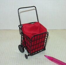 Miniature Manufactured Black Metal Grocery Cart w/Red Fabric Bag: Dollhouse 1/12
