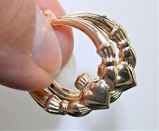 9ct Yellow Gold Claddagh Creole Hoop Earrings Love Loyalty Friendship Ladies