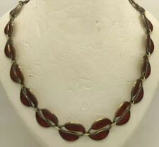 "Vintage David Andersen Norway Sterling Silvernred Enamel Leaf 15.5"" Necklace"