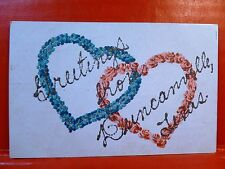 Postcard TX Duncanville Gliter Greetings from Duncanville Red & Blue Hearts