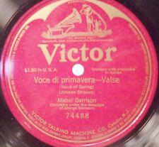 """Mabel Garrison Opera Soprano 78 RPM 12"""" Record Voce di Primavera Valse 1916"""