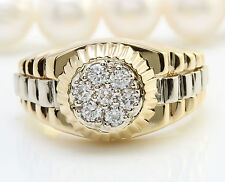 .70CTW Natural VS1 DIAMONDS in 14K Solid Yellow Gold Men Ring