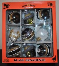 NEW SHINY BRITE HALLOWEEN RADKO Glass ORNAMENT Set/9 2 SKULL 2 Green WITCH Head