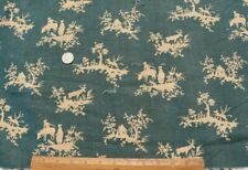 """Antique c1920s Indigo Small Scale Country French Linen Toile Fabric~15"""" X 31"""""""