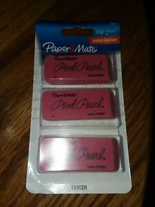 Paper Mate Pink Pearl Erasers Large 3 Count 70501 New In Pack