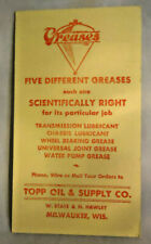 "ANTIQUE TOPP OIL & SUPPLY CO. MILWAUKEE GREASE ADVERTISEMENT CARD 6"" X 3 1/2"""