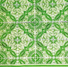 3 x Single Paper Napkins For Decoupage Craft Tissue Green Maroccan Tiles N537
